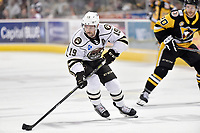 HERSHEY, PA - NOVEMBER 28: Hershey Bears right wing Riley Barber (19) skates the puck across the blue line during the Wilkes-Barre/Scranton Penguins at Hershey Bears on November 28, 2018 at the Giant Center in Hershey, PA. (Photo by Randy Litzinger/Icon Sportswire)