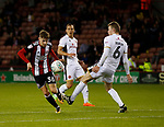David Brooks of Sheffield Utd glides past Nicky Devlin of Walsall during the Carabao Cup First Round match at Bramall Lane Stadium, Sheffield. Picture date: August 9th 2017. Pic credit should read: Simon Bellis/Sportimage