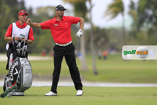 Alvaro Quiros (ESP) waits to tee off on the par3 9th tee during Thursday's Round 1 of the WGC Cadillac Championship at TPC Blue Monster, Doral Golf Resort & Spa, Miami Florida, 7th March 2012 (Photo Eoin Clarke/www.golffile.ie)