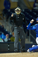 Home plate umpire Richard Riley makes a strike call during the International League game between the Gwinnett Braves and the Durham Bulls at Durham Bulls Athletic Park on April 20, 2019 in Durham, North Carolina. The Bulls defeated the Braves 3-2 in game two of a double-header. (Brian Westerholt/Four Seam Images)