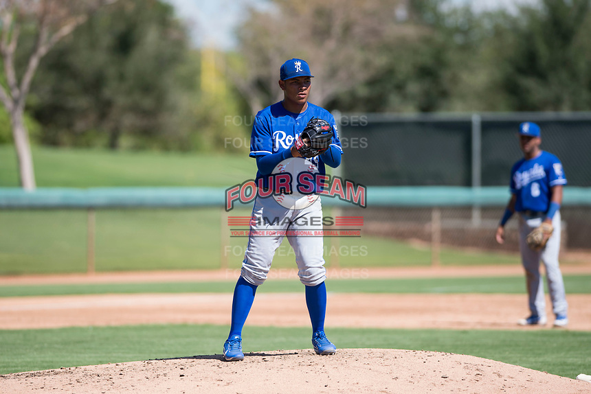 Kansas City Royals relief pitcher Angel Zerpa (49) checks the runner at first base during an Instructional League game against the Chicago White Sox at Camelback Ranch on September 25, 2018 in Glendale, Arizona. (Zachary Lucy/Four Seam Images)