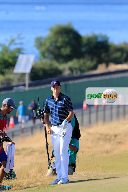 Jordan Speith (USA) prepares to chip onto the 16th green during Sunday's Final Round of the 2015 U.S. Open 115th National Championship held at Chambers Bay, Seattle, Washington, USA. 6/22/2015.<br /> Picture: Golffile | Eoin Clarke<br /> <br /> <br /> <br /> <br /> All photo usage must carry mandatory copyright credit (&copy; Golffile | Eoin Clarke)