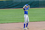 MIDDLETOWN, CT. 06 June 2018-060618BS35 - Seymour's John Chacho (7)  reacts from second base after hitting a double during the CIAC Tournament Class M Semi-Final baseball game between Seymour and St Joseph at Palmer Field on Wednesday evening. Seymour beat St Joseph 8-0 and will play Wolcott for the Class M championship on Saturday. Bill Shettle Republican-American