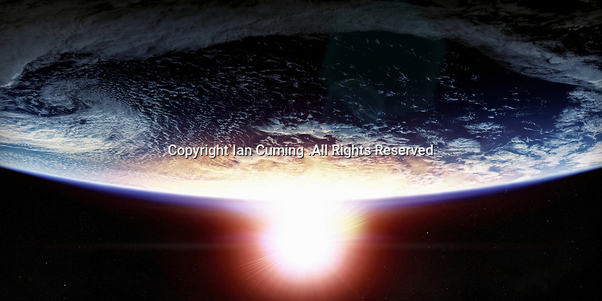 Sunset over planet earth from space