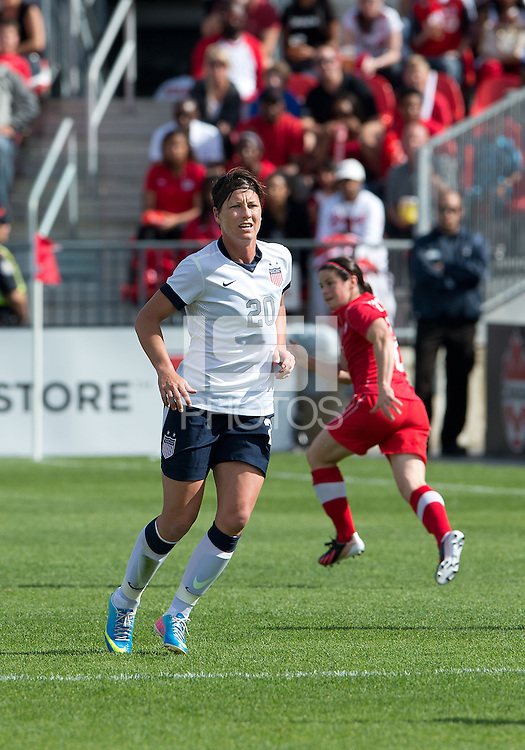 02 June 2013: U.S. Woman's National Team forward Abby Wambach #20 in action during an International Friendly soccer match between the U.S. Women's National Soccer Team and the Canadian Women's National Soccer Team at BMO Field in Toronto, Ontario.<br /> The U.S. Women's National Team Won 3-0.