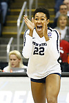 KANSAS CITY, KS - DECEMBER 14: Simone Lee #22 of Penn State University celebrates a point while playing the University of Nebraska during the Division I Women's Volleyball Semifinals held at Sprint Center on December 14, 2017 in Kansas City, Missouri. (Photo by Tim Nwachukwu/NCAA Photos via Getty Images)