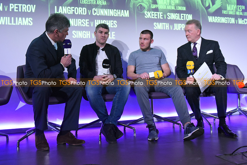 Boxers Liam Smith (2nd L) and Liam Williams during a Frank Warren and BT Sport Press Conference at the BT Tower on 23rd January 2017