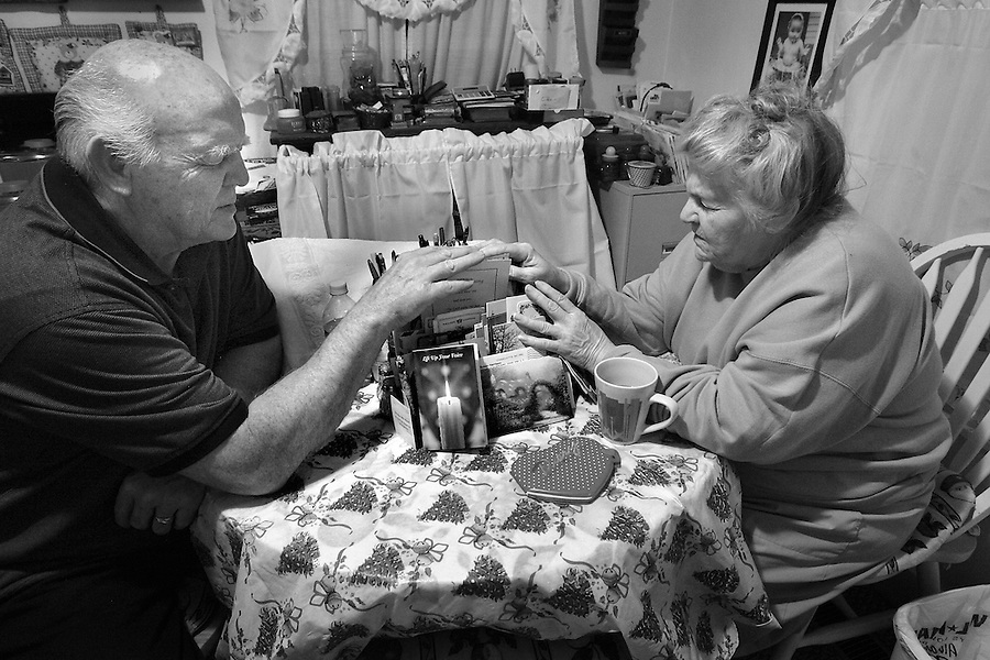 "Pastor Sam Gibbs and his wife Helen answer prayer requests mailed recently to their Hillsborough home.  As they do each morning, the couple placed their hands on the letters, stacked neatly on their kitchen table, and prayed for the specific needs inside.  ""Whatever problems we face today, God will handle them,"" said Helen Gibbs. The letters come from people the Gibbs have met through more than 30 years of Christian evangelism, including missions to Trinidad, Haiti and Israel.  ""This is the way of our lives,"" said Pastor Gibbs.  ""We start each day in the Spirit of the Lord, asking God what he wants from us today."""