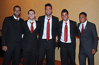 From left to right D.C. United forward Santos Maicon midfielder kurt Morsink defender Emiliano Dudar midfielder Marcelo Saragosa midfielder Andy Najar,at the United Kickoff luncheon, at the Marriott hotel in Washington DC, March 5, 2012.