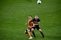 29th July 2020; Bankwest Stadium, Parramatta, New South Wales, Australia; A League Football, Melbourne Victory versus Brisbane Roar; Dylan Wenzel-Halls of Brisbane Roar and Leigh Broxham of Melbourne Victory wait for a high ball to drop