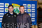 Kerry Bannisteor, Eamonn Fitzmaurice and captain Fionn Fitzgerald at the launch of Kerry's National football campaign for 2018 in the Meadowland Hotel last Tuesday night.