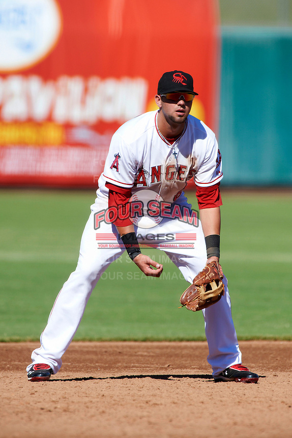 Scottsdale Scorpions third baseman Kaleb Cowart #6, of the Los Angeles Angels organization, during an Arizona Fall League game against the Surprise Saguaros at Scottsdale Stadium on October 16, 2012 in Scottsdale, Arizona.  Surprise defeated Scottsdale 11-3.  (Mike Janes/Four Seam Images)