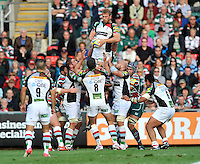 Leicester, England. Chris Robshaw (Captain) of Harlequins wins the line out during the Aviva Premiership match between Leicester Tigers and Harlequins at Welford Road on September 22, 2012 in Leicester, England.
