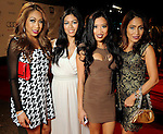 From left: Lem Quilet, Jennie Gonzales, China Quilet and Rhodora Gerona on the red carpet at Fashion Houston at the Wortham Theater Wednesday Nov.13,2013.  (Dave Rossman photo)