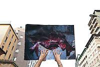 Veggie Pride, manifestazione vegana contro il consumo della carne.Milano, 18 giugno, 2011...Veggie Pride, Vegan demonstration against meat eating. Milan, June 18, 2011
