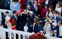 LOUISVILLE, KY - MAY 06: Always Dreaming trainer Todd Pletcher holds up the trophy after winning the Kentucky Derby on Kentucky Derby Day at Churchill Downs on May 6, 2017 in Louisville, Kentucky. (Photo by Jon Durr/Eclipse Sportswire/Getty Images)