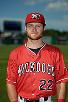 Batavia Muckdogs J.D. Orr (22) poses for a photo before a NY-Penn League game against the West Virginia Black Bears on June 26, 2019 at Dwyer Stadium in Batavia, New York.  Batavia defeated West Virginia 4-2.  (Mike Janes/Four Seam Images)