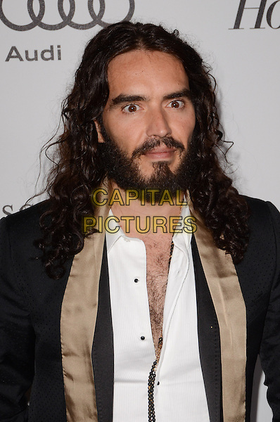 Russell Brand.The Motion Picture & Television Fund Presentation of 'Reel Stories Real Lives'  held at Milk Studios, Los Angeles, California, USA, 20th October 2012..portrait headshot black suit white shirt beige gold facial hair beard  scarf silk satin .CAP/ADM/TW.©Tonya Wise/AdMedia/Capital Pictures.