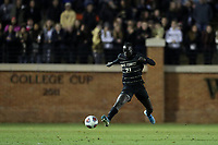 WINSTON-SALEM, NC - DECEMBER 07: Machop Chol #21 of Wake Forest University plays the ball during a game between UC Santa Barbara and Wake Forest at W. Dennie Spry Stadium on December 07, 2019 in Winston-Salem, North Carolina.