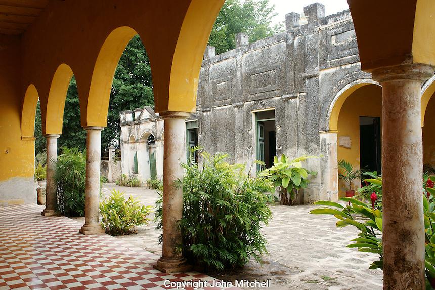 Interior patio of main building at Hacienda Yaxcopoil, Yucatan, Mexico.