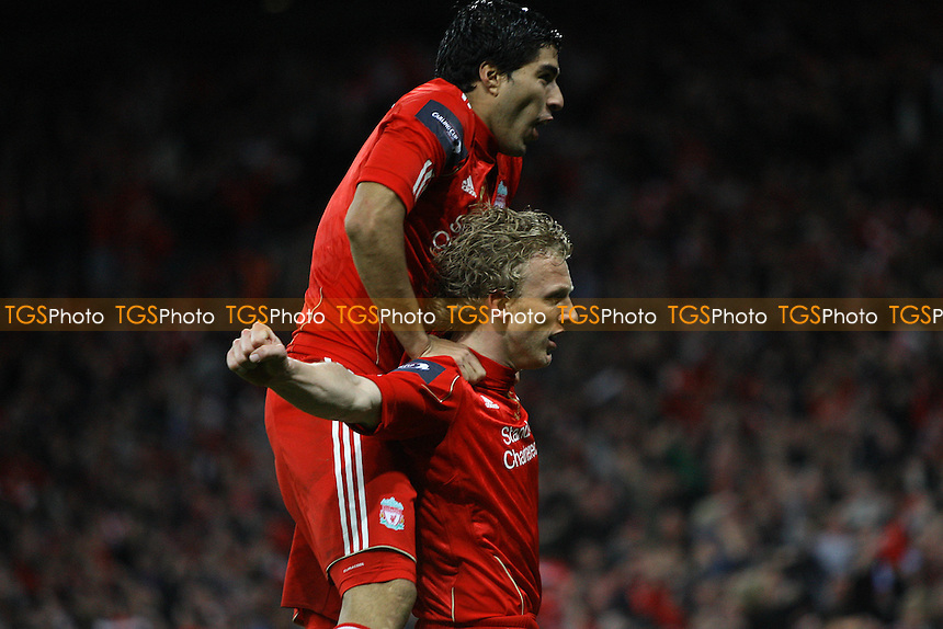 Dirk Kuyt of Liverpool scores second goal and celebrates - Cardiff City vs Liverpool - Carling Cup Final at Wembley Stadium, London - 26/02/12 - MANDATORY CREDIT: George Phillipou/TGSPHOTO - Self billing applies where appropriate - 0845 094 6026 - contact@tgsphoto.co.uk - NO UNPAID USE.