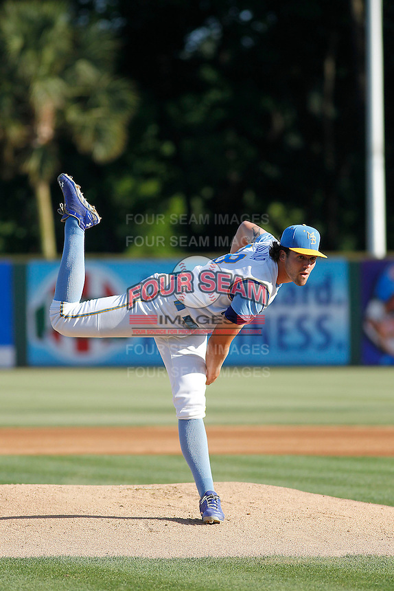 Myrtle Beach Pelicans pitcher Tyler Skulina (28) on the mound during a game against the Potomac Nationals at Ticketreturn.com Field at Pelicans Ballpark on May 24, 2015 in Myrtle Beach, South Carolina. Potomac defeated Myrtle Beach 1-0. (Robert Gurganus/Four Seam Images)