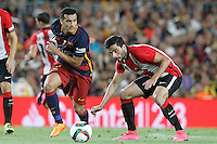 FC Barcelona's Pedro Rodriguez (l) and Athletic de Bilbao's Xabier Etxeita during Supercup of Spain 2nd match.August 17,2015. (ALTERPHOTOS/Acero)