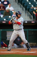 Pawtucket Red Sox catcher Sandy Leon (41) at bat during a game against the Buffalo Bisons on August 28, 2015 at Coca-Cola Field in Buffalo, New York.  Pawtucket defeated Buffalo 7-6.  (Mike Janes/Four Seam Images)