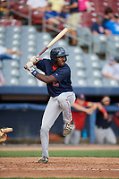 Lowell Spinners designated hitter Xavier LeGrant (15) at bat during a game against the Connecticut Tigers on August 26, 2018 at Dodd Stadium in Norwich, Connecticut.  Connecticut defeated Lowell 11-3.  (Mike Janes/Four Seam Images)