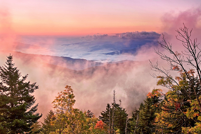 """FOG WINDOW"" -- The mountains below framed by fall color at Clingmans Dome in Great Smoky Mountains National Park. The park is located on the border of North Carolina and Tennessee in the southern Appalachian mountains."