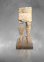 9th century BC Giants of Mont'e Prama  Nuragic stone statue of a warrior, Mont'e Prama archaeological site, Cabras. Museo archeologico nazionale, Cagliari, Italy. (National Archaeological Museum) - Grey Art Background