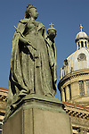 Close up of statue of Queen Victoria and Council House building in Victoria Square Birmingham England
