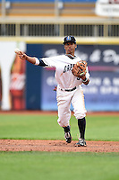 Lake County Captains shortstop Ivan Castillo (9) throws to first during a game against the Dayton Dragons on June 8, 2014 at Classic Park in Eastlake, Ohio.  Lake County defeated Dayton 4-2.  (Mike Janes/Four Seam Images)