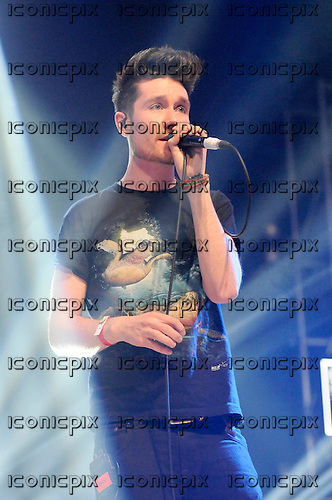 BASTILLE - vocalist Dan Smith - performing live on the In New Music We Trust Stage at the BBC Radio 1 Big Weekend held at Ebrington Square in Londonderry Northern Ireland UK - 26 May 2013.  Photo credit: George Chin/IconicPix