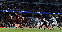 Manchester City's Leroy Sane scores his side's equalising goal from a free-kick to make the score 1 - 1<br /> <br /> Photographer Rich Linley/CameraSport<br /> <br /> UEFA Champions League Group F - Manchester City v TSG 1899 Hoffenheim - Wednesday 12th December 2018 - The Etihad - Manchester<br />  <br /> World Copyright © 2018 CameraSport. All rights reserved. 43 Linden Ave. Countesthorpe. Leicester. England. LE8 5PG - Tel: +44 (0) 116 277 4147 - admin@camerasport.com - www.camerasport.com