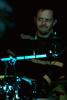 CIUDAD DE MÉXICO, DF. Julio 12, 2013  –  Rodrigo Barbosa baterista del grupo de Jazz, Los Dorados toca junto a Alejandro Otaola en el Bar Caradura de la Ciudad de México.  FOTO: ALEJANDRO MELÉNDEZ<br /> <br /> MEXICO CITY, DF. July 12, 2013 - Rodrigo Barbosa Jazz drummer, Los Dorados touch with Alejandro Caradura Otaola at Bar Mexico City. PHOTO: ALEJANDRO MELENDEZ