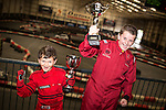 © Joel Goodman - 07973 332324 . 4 August 2013 . Daytona Manchester, Unit 4 Circle South, Wharfside Way, Trafford Park, Manchester M17 1NF , UK . L-R brothers Michael Burrows (nine) and Gabe Burrows (12) from Stretford (correct - NB Gabe just recently turned nine - it says eight on the brief) have won numerous go-karting trophies . Photo credit : Joel Goodman