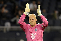 Jimmy  Nielsen goalkeeper Sporting KC applauds fans. .Sporting Kansas City defeated Montreal Impact 2-0 at Sporting Park, Kansas City, Kansas.