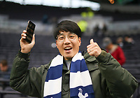 26th December 2019; Tottenham Hotspur Stadium, London, England; English Premier League Football, Tottenham Hotspur versus Brighton and Hove Albion; A Spurs fan gives a thumbs up before the match - Strictly Editorial Use Only. No use with unauthorized audio, video, data, fixture lists, club/league logos or 'live' services. Online in-match use limited to 120 images, no video emulation. No use in betting, games or single club/league/player publications