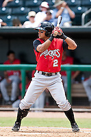 Jose Castro (2) of the  Carolina Mudcats during a game vs. the Jacksonville Suns May 31 2010 at Baseball Grounds of Jacksonville in Jacksonville, Florida. Jacksonville won the game against Carolina by the score of 3-2. Photo By Scott Jontes/Four Seam Images