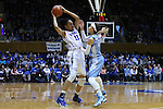 01 March 2015: Duke's Azura Stevens (11) and North Carolina's Jessica Washington (24). The Duke University Blue Devils hosted the University of North Carolina Tar Heels at Cameron Indoor Stadium in Durham, North Carolina in a 2014-15 NCAA Division I Women's Basketball game. Duke won the game 81-80.