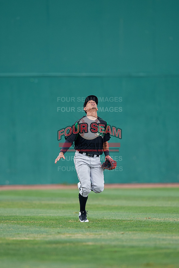 Dayton Dragons center fielder Lorenzo Cedrola (27) tracks a fly ball during a game against the Beloit Snappers on July 22, 2018 at Pohlman Field in Beloit, Wisconsin.  Dayton defeated Beloit 2-1.  (Mike Janes/Four Seam Images)