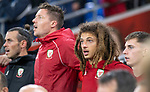Cardiff - UK - 9th September :<br />Wales v Belarus Friendly match at Cardiff City Stadium.<br />Ethan Ampadu of Wales singing the national anthem ahead of kick off.<br />Editorial use only