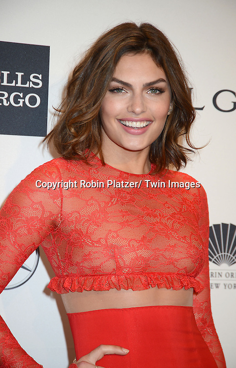 Alyssa Miller attends the amfAR New York Gala on February 5, 2014 at Cipriani Wall Street in New York City.