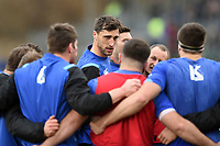 Luke Charteris of Bath Rugby speaks to his team-mates in a pre-match huddle. Anglo-Welsh Cup match, between Bath Rugby and Newcastle Falcons on January 27, 2018 at the Recreation Ground in Bath, England. Photo by: Patrick Khachfe / Onside Images