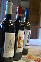 The Mas de Martin range. Domaine de Mas de Martin, St Bauzille de Montmel. Gres de Montpellier. Languedoc. France. Europe. Bottle.