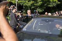 Hungarian Prime Minister Viktor Orban (front 2nd L) leaves in a car driven by his minister Antal Rogan (front R) after he cast his vote during the European Parliamentary election in Budapest, Hungary on May 26, 2019. ATTILA VOLGYI