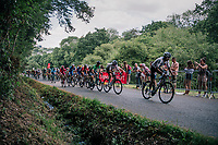 Egan Bernal Gomez (COL/Team Sky) leading up the final climb towards the finish with Chris Froome (GBR/SKY), Peter Sagan (SVK/Bora-Hansgrohe) & many top riders behind him just 700 meters from the finish<br /> <br /> Stage 5: Lorient > Quimper (203km)<br /> <br /> 105th Tour de France 2018<br /> ©kramon