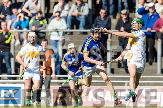 Kerry in action against  Offaly in the National Hurling League in Austin Stack Park, Tralee on Sunday.