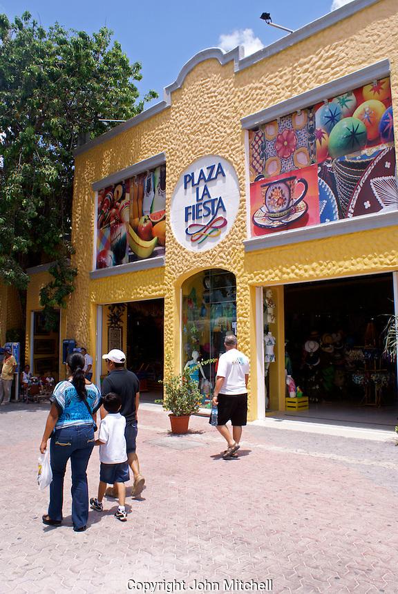 Shopping plaza on Fifth  Avenue or Quinta Avenida in Playa del Carmen, Riviera Maya, Quintana Roo, Mexico